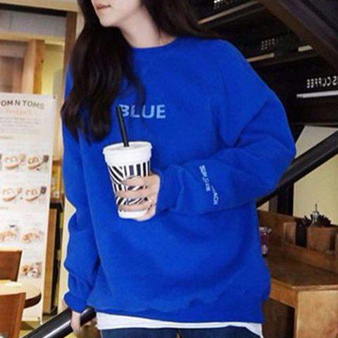 Fashionable Women's Round Collar Long Sleeves Loose-Fitting Letter Print Sweatshirt - BLUE L