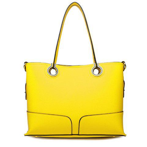 Trendy Candy Color and Stitching Design Shoulder Bag For Women - YELLOW