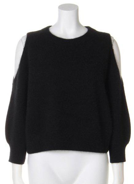 Simple Jewel Neck Pure Color Long Sleeve Pullover Sweater For Women - BLACK ONE SIZE(FIT SIZE XS TO M)