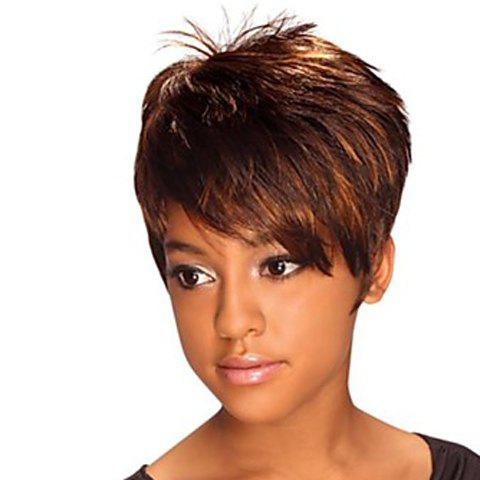 Fluffy Straight Brown Highlight Synthetic Spiffy Ultrashort Fashion Side Bang Capless Women's Wig - COLORMIX