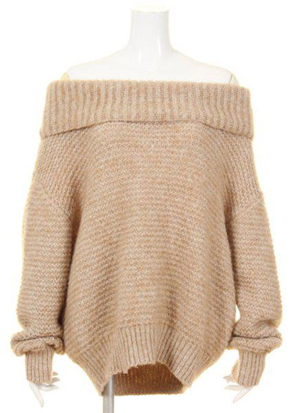 Simple Slash Neck Pure Color Bell Sleeve Pullover Sweater For Women - KHAKI ONE SIZE(FIT SIZE XS TO M)
