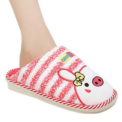 Cute Colour Block and Animal Print Design House Slippers For Women - PINK L(39-40)