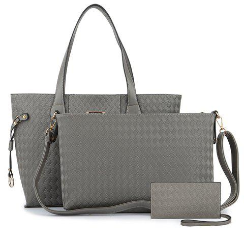 Stylish Weaving and Solid Color Design Shoulder Bag For Women -  GRAY
