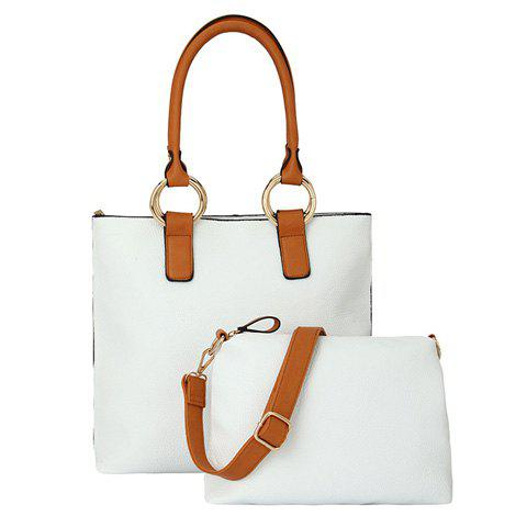 Stylish Colour Block and Stitching Design Tote Bag For Women - WHITE