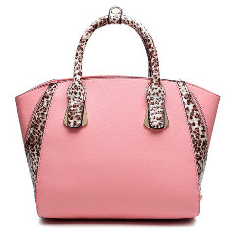 Trendy Metal and Leopard Printed Design Tote Bag For Women - PINK