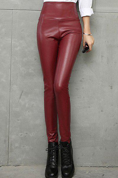 Brief Style High-Waisted PU Leather Solid Color Women's Pants - WINE RED S