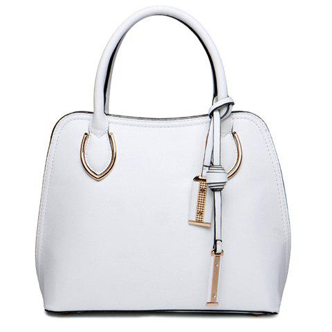 Stylish Pendant and Metal Design Tote Bag For Women - WHITE