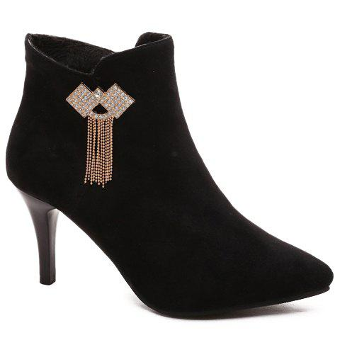 Graceful Rhinestone and Pointed Toe Design Women's Short Boots - BLACK 35
