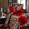 Sweet 3D Oil Painting Leopard and Rose Pattern 4 Pcs Duvet Cover Sets ( Without Comforter ) - RED/BLACK FULL