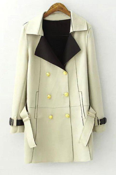Stylish Lapel Long Sleeve Double-Breasted Women's Trench Coat - LIGHT GREEN L