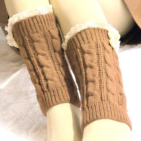Pair of Chic Lace and Button Embellished Hemp Flowers Women's Knitted Boot Cuffs - KHAKI