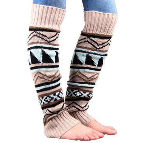Pair of Chic Tribal Geometric Pattern Women's Knitted Leg Warmers - OFF WHITE