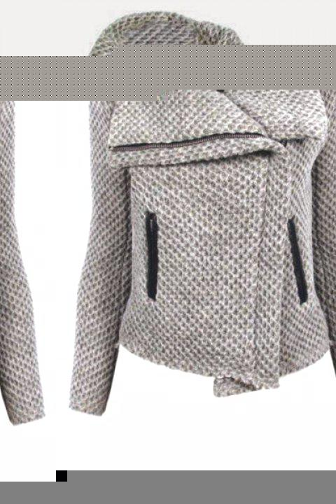 Casaul Zippered Turn-Down Collar Mesh Knitted Coat For Women - GRAY S