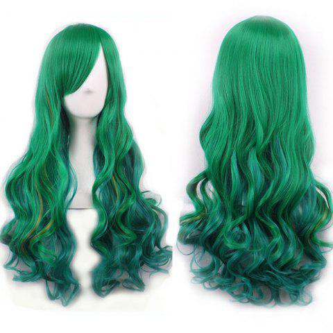 Fluffy Long Wavy Synthetic Two-Tone Ombre Gorgeous Side Bang Harajuku Cosplay Wig For Women - OMBRE 1211