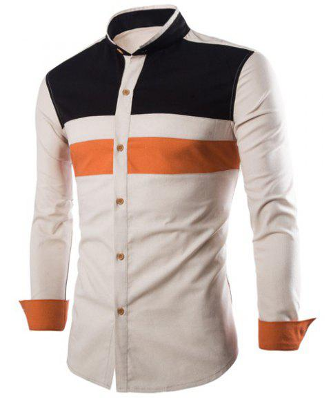 Classic Color Block Spliced Personality Cuffs Stand Collar Long Sleeves Slimming Men's Vogue Shirt - OFF WHITE 2XL