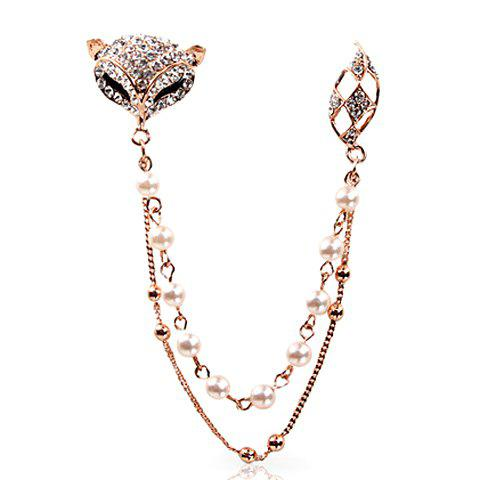Rhinestone Faux Pearl Fox Sweater Guard Brooch - WHITE