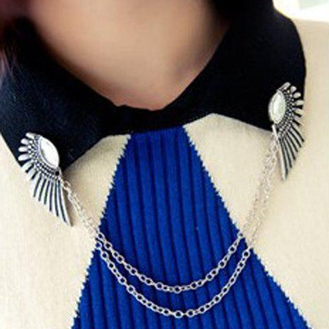 Broche Noble strass Tassel Pull Wing Guard pour les femmes - Argent