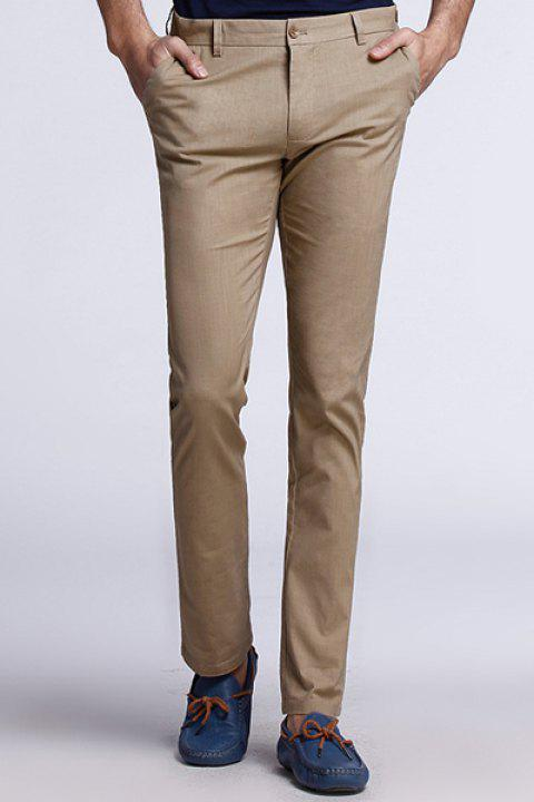 Plus Size Straight Leg Patch Pocket Button Design Solid Color Fitted Zipper Fly Men's Thin Pants - COFFEE 36
