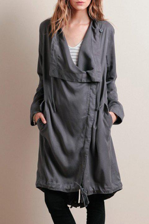 Stylish Long Sleeves Solid Color Waisted Irregular Hem Women's Trench Coat - GRAY L