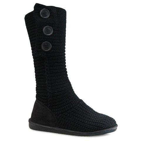 Stylish Knitting and Button Design Snow Boots For Women - BLACK 39