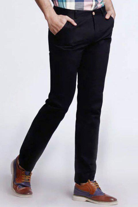Laconic Straight Leg Button Patch Pocket Design Solid Color Fitted Zipper Fly Men's Thin Plus Size Pants - BLACK 34