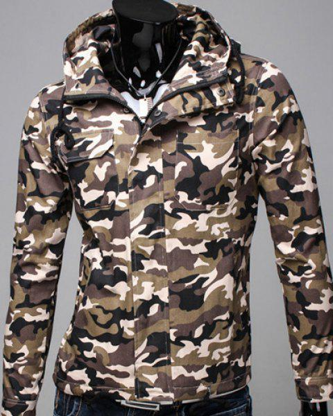Slimming Hooded Patch Pocket French Front Back Slit Slimming Long Sleeves Men's Camo Coat - COFFEE L