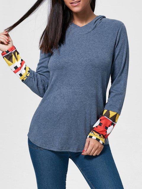 Retro Style Cowl Neck Printed Long Sleeve T-Shirt For Women - BLUE XL