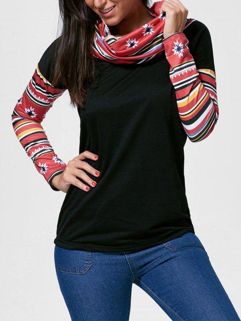 Retro Style Cowl Neck Printed Long Sleeve T-Shirt For Women - BLACK XL