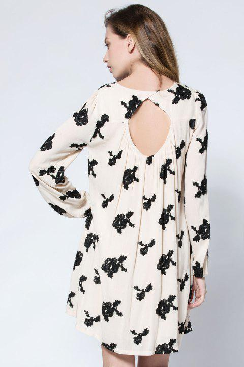 Long Sleeve Floral Embroidered Tunic Dress - APRICOT S