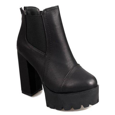 Vintage Elastic and Chunky Heel Design Ankle Boots For Women - BLACK 39
