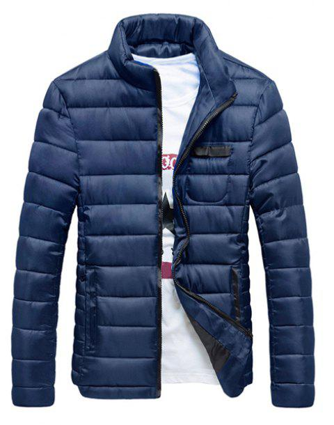 Zipper Pocket Stand Collar Long Sleeve Men's Cotton-Padded Coat - CADETBLUE M