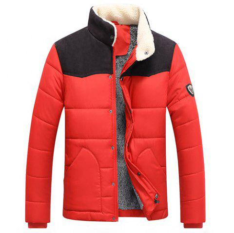 Splicing Design Flocking Stand Collar Long Sleeve Badge Men's Cotton-Padded Jacket - RED 2XL