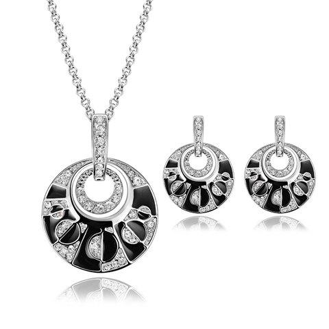 Rhinestoned Hollowed Round Necklace and Earrings - SILVER