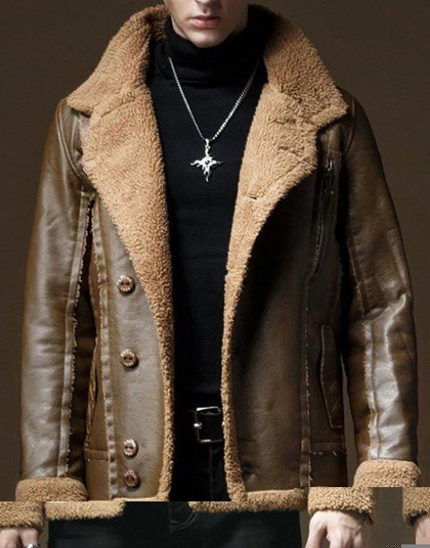 Inclined Button Flocking Turn-Down Collar Long Sleeve PU-Leather Men's Jacket - LIGHT BROWN M