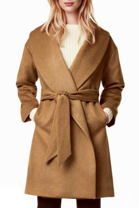 c9a0c3042a 2019 Chic Belted Solid Color Long Sleeve Coat For Women In CAMEL XL ...