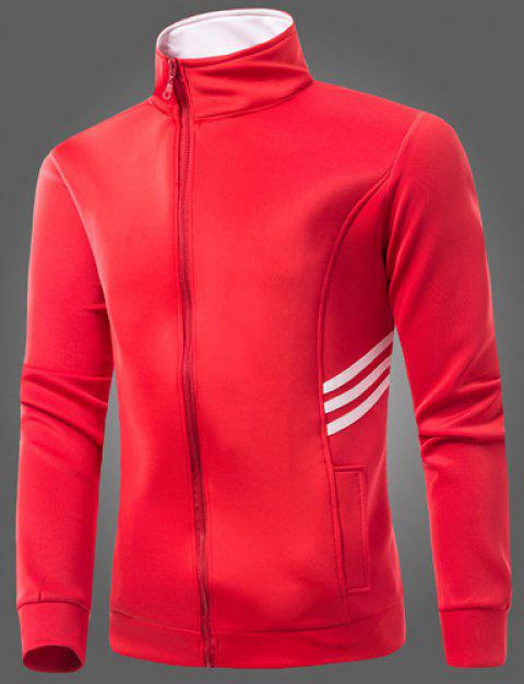 Laconic Stand Collar Hit Color Stripes Spliced Patch Pocket Long Sleeves Men's Slim Fit Sweatshirt - RED XL