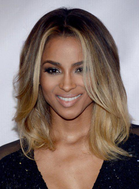 Graceful Brown Blonde Ombre Medium Synthetic Nobby Centre Parting Wavy Women's Wig - OMBRE 1211