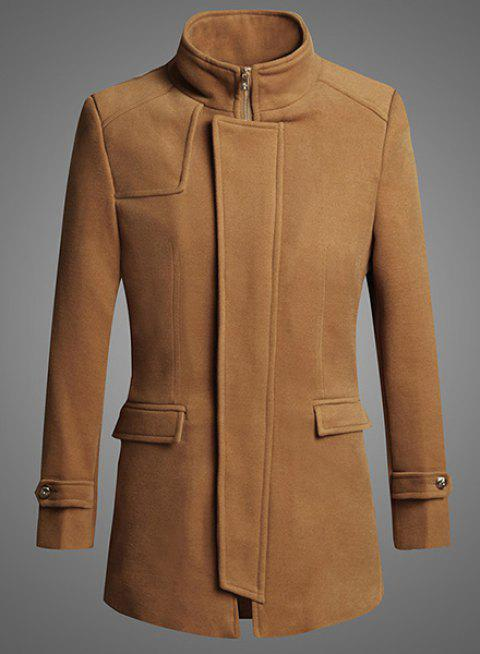 Personality Zipper Fly Flap Pocket Solid Color Slimming Stand Collar Long Sleeves Men's Coat - CAMEL L