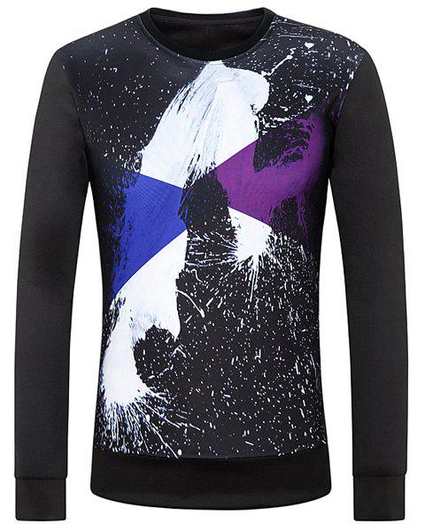 Round Neck 3D Abstract Splash-Ink Print Long Sleeve Men's Sweatshirt - BLACK XL