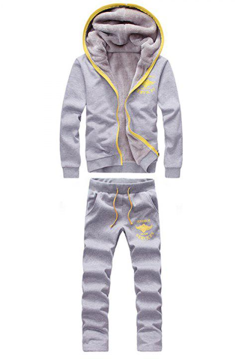 Preppy Style Hooded Letters Logo Print Long Sleeves Men's Flocky Hoodie+Sweatpants - LIGHT GRAY XL