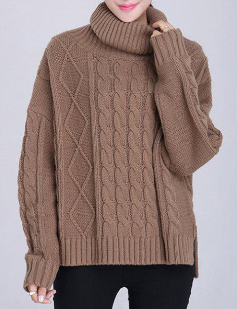 Pullover Long Sleeve Furcal Turtleneck Neck Sweater For Women - BROWN ONE SIZE(FIT SIZE XS TO M)