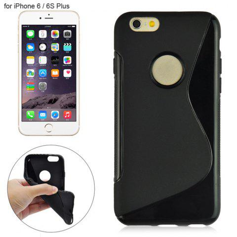 Angibabe Phone Back Case Protector for iPhone 6 / 6S Plus with Round Hole S Design TPU Material - BLACK