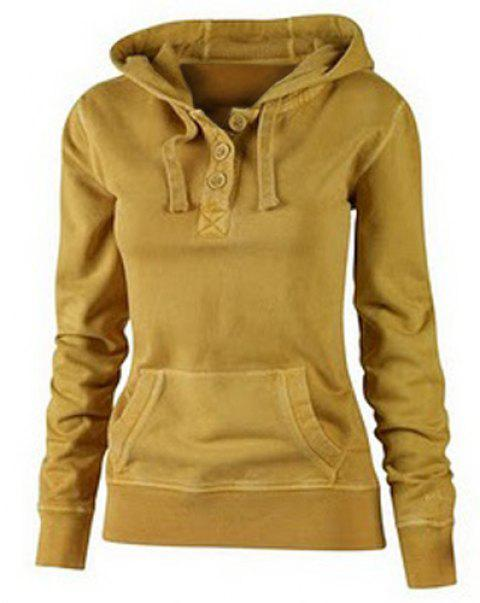Casual Hooded Solid Color Buttoned Pocket Pullover Hoodie For Women - GINGER L