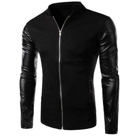 PU Leather Personality Spliced Hit Color Patch Pocket Stand Collar Long Sleeves Men's Slimming Sweatshirt - BLACK XL