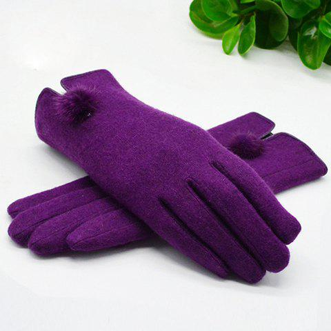 Pair of Chic Small Pompon Embellished Women's Purple Winter Gloves - PURPLE