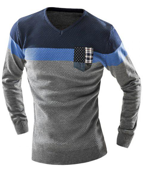 Checked Pocket Color Lump Spliced Geometric Pattern V-Neck Long Sleeves Men's Slimming Sweater - GRAY 2XL