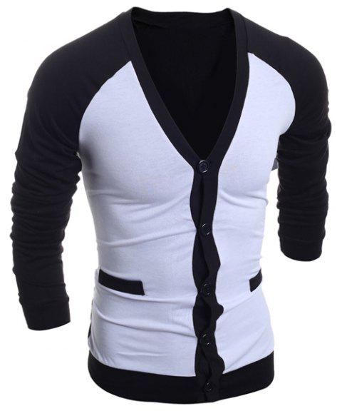 Color Block Splicing V-Neck Single-Breasted Long Sleeve Men's Cardigan - WHITE XL