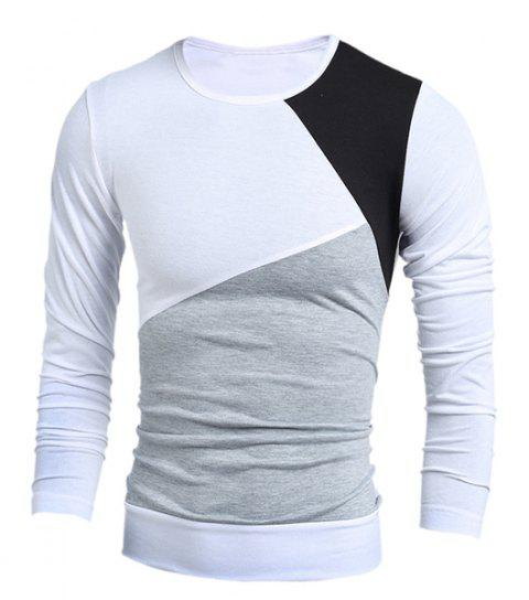 Round Neck Long Sleeves Multicolor Panel T-Shirt - WHITE L