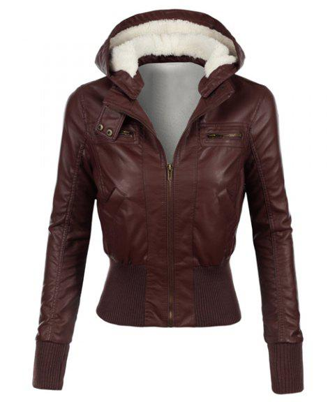 086247fcb0365 Stylish Long Sleeve Hooded Slimming Faux Leather Women s Jacket - BROWN S