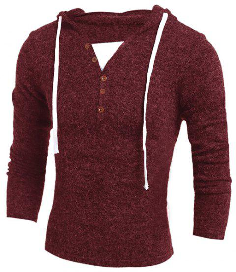 Single-Breasted Drawstring Hooded Solid Color Slimming Long Sleeves Men's Thicken Sweater - WINE RED L